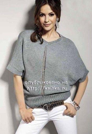 женский пуловер спицами фото