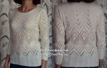 белый свитер спицами фото