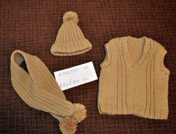 шапка, шарф и жилет спицами