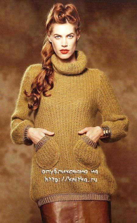 модный женский свитер связанный спицами с описание выкройкой и