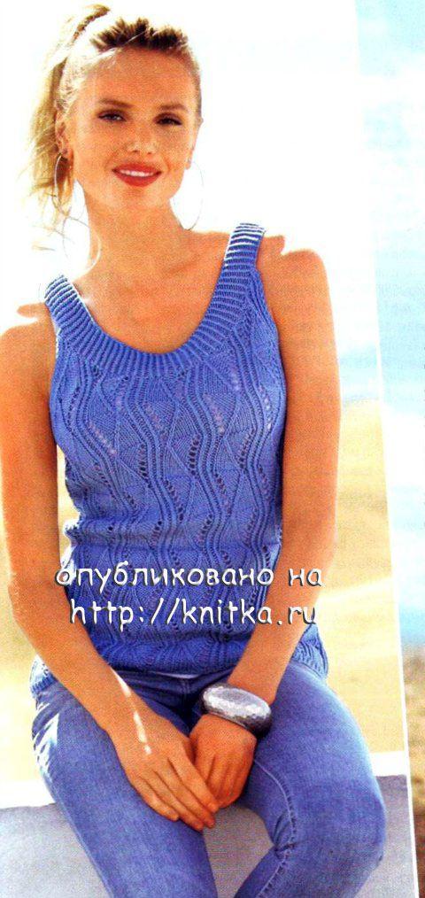 ажурный женский топ с описанием и схемой вязания спицами ажурное