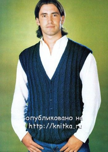 Мужской вязаный жилет. Вязание спицами.
