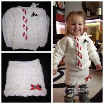 Костюмчик для девочки Snowflake (Снежинка). Вязание спицами.