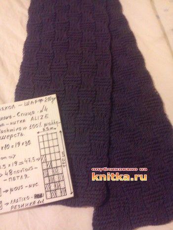Мужской шарф спицами - работа Katerina Raiu (Pavel). Вязание спицами.
