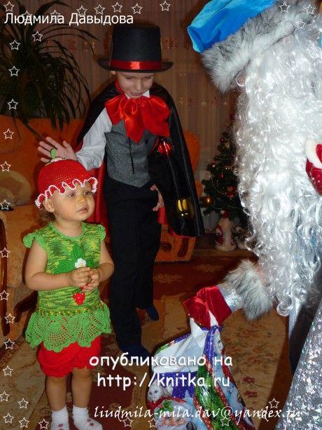 вязаный спицами костюм для девочки фото