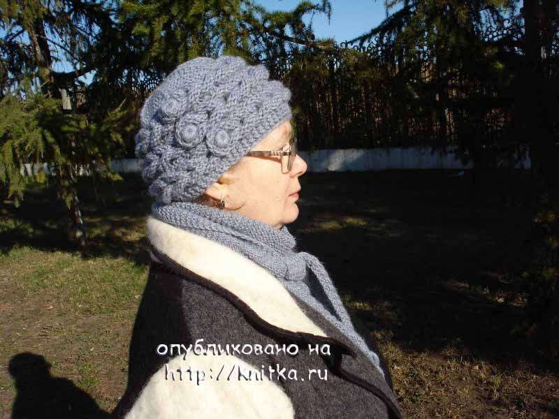 шапочка и бактус с косами вязание для женщин