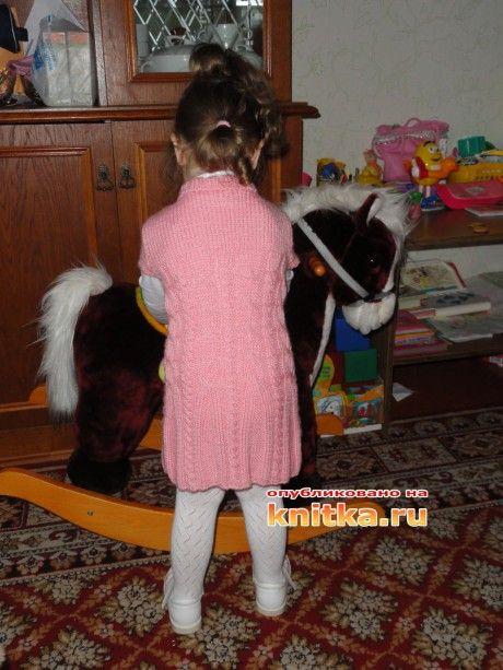 вязаная туника для девочки спицами