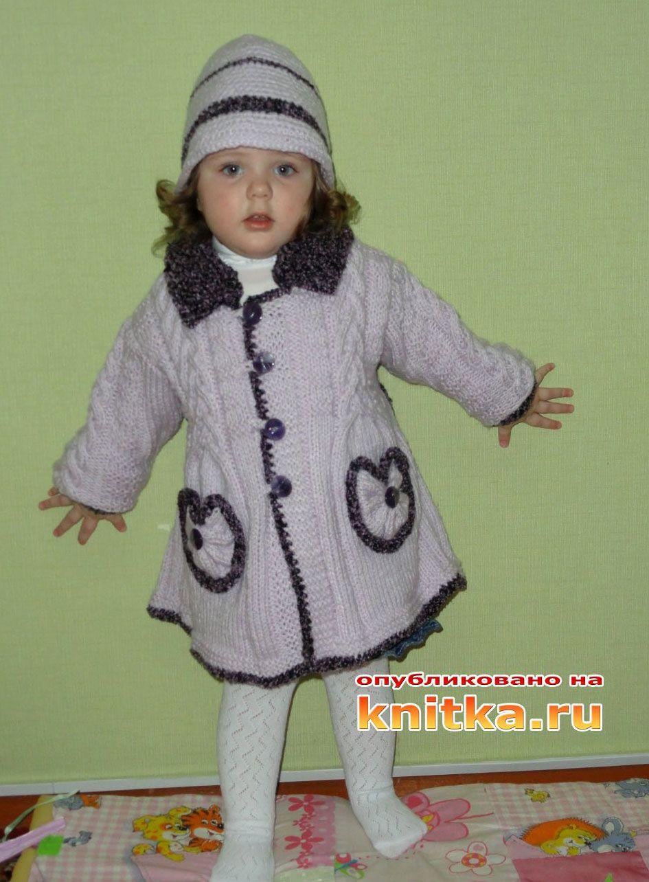 пальто из травки для девочки спицами схема