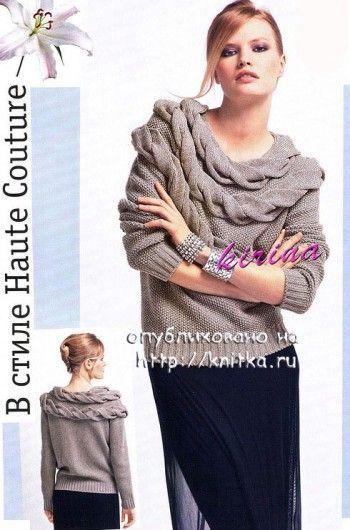 вязаный свитер с косами фото