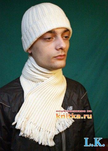 шапка и шарф связанные спицами фото