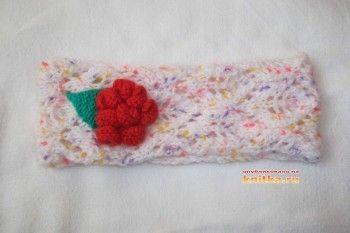 фото вязаной спицами повязки