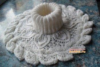 фото вязаной спицами манишки
