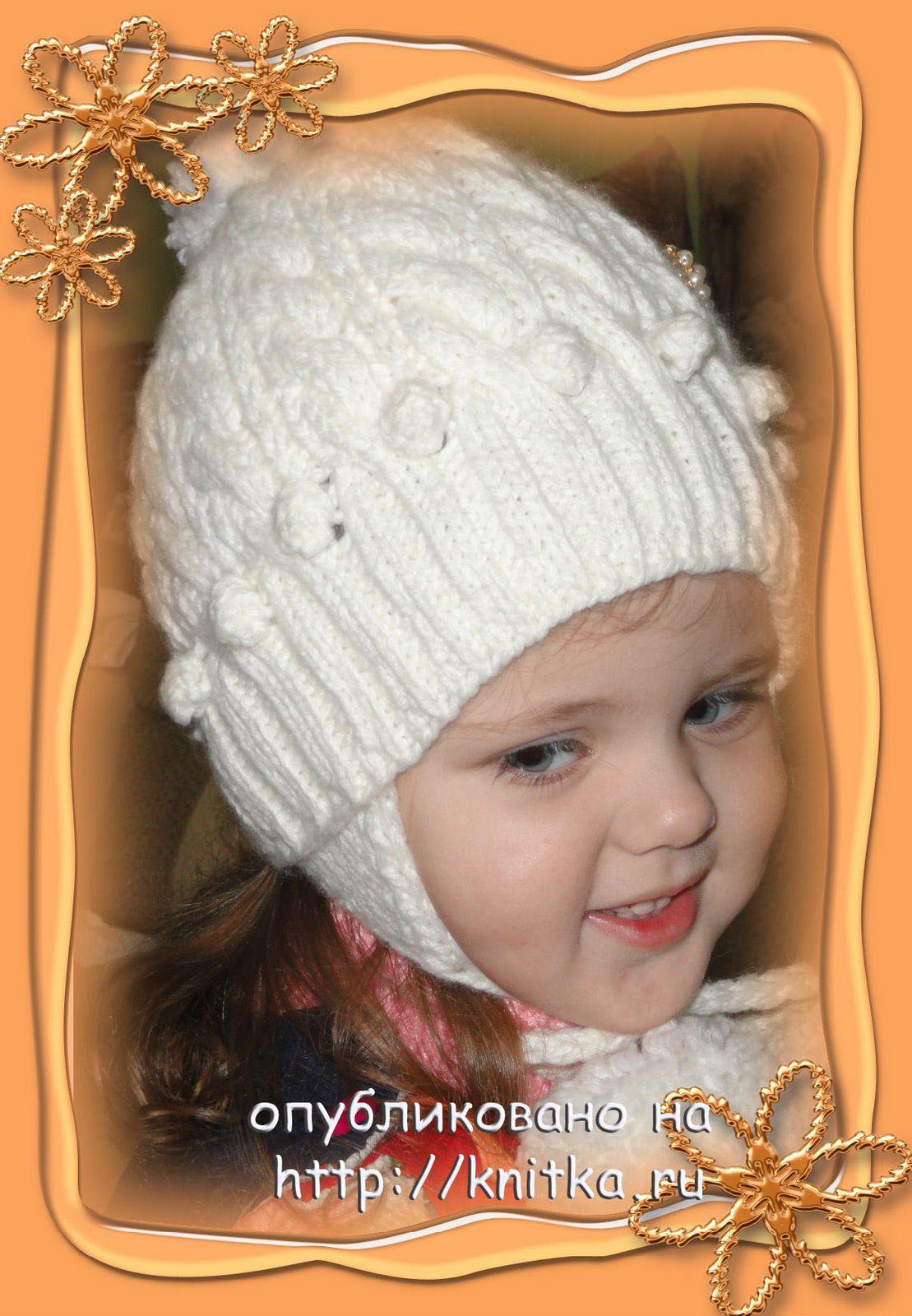Шапочка и шарф для девочки, Вязание для детей
