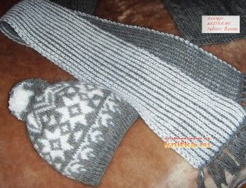 фото шапки и шарфа спицами