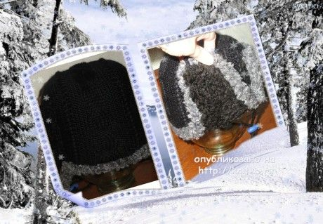 фото вязаной спицами шапки - ушанки