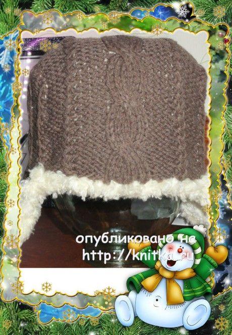 Ушанка мужская, связанная спицами фото