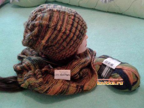 мужская шапка и бактус спицами фото