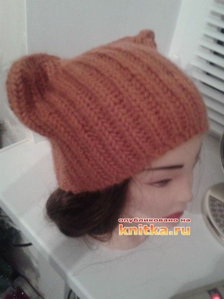 вязаная спицами шапка фото