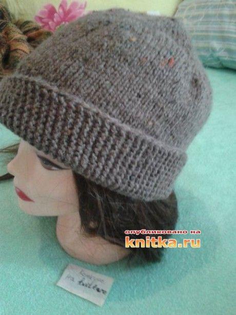 фото вязаной спицами шапки