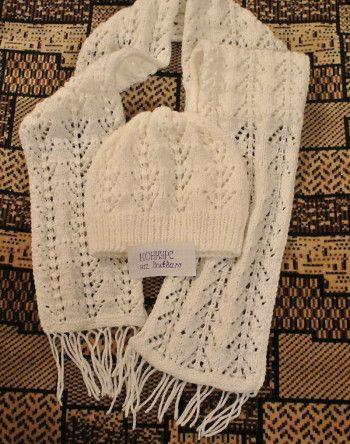 Ажурная шапочка и шарф спицами. Вязание спицами.