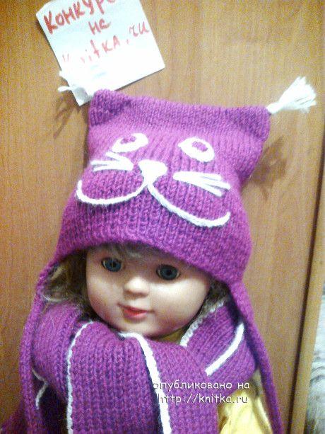 шапка, шарф и варежки связанные спицами фото