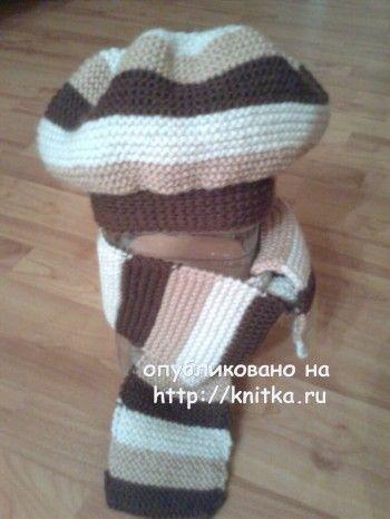 Берет и шарф связанные спицами фото