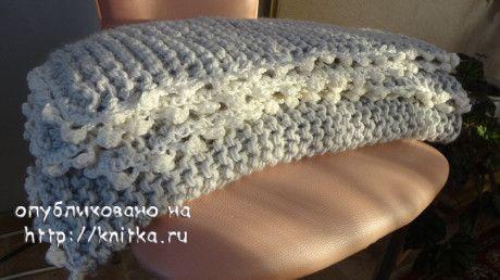 фото вязаного спицами пледа
