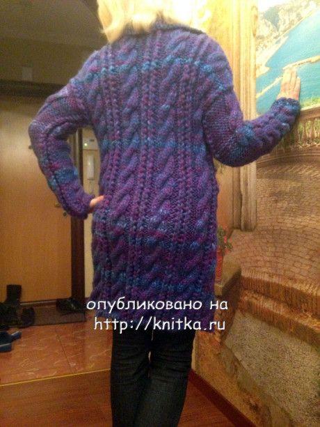 фото вязаного спциами пальто