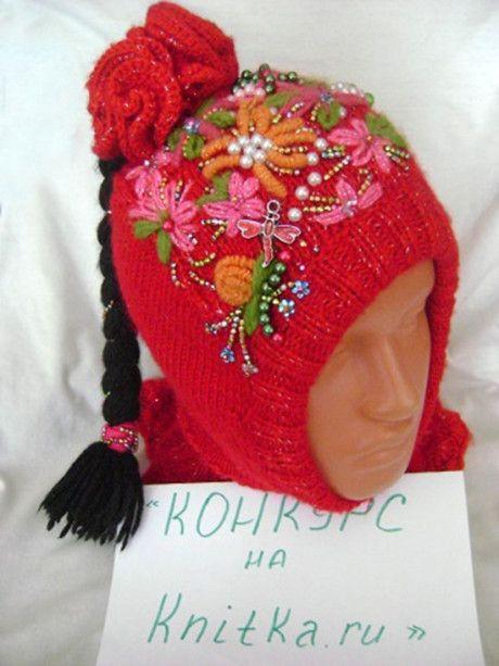 Зимний шлем, связанный спицами