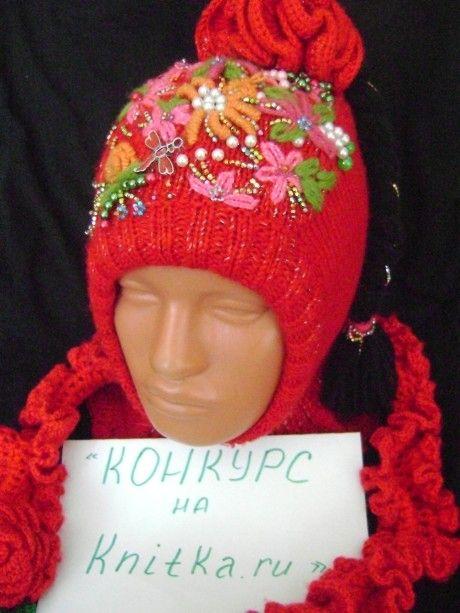 фото шапки - шлема связанного спицами