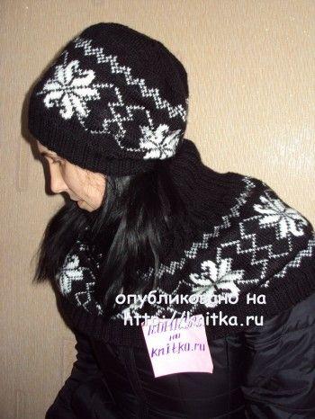 Женская шапка спицами и шарф - душегрейка. Вязание спицами.