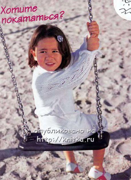 Болеро ажурные рукава для девочки спицами ФОТО