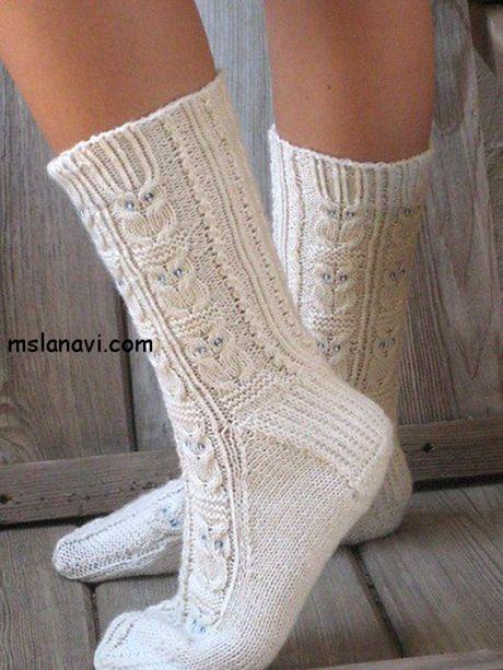 Вязаные носки спицами – работы