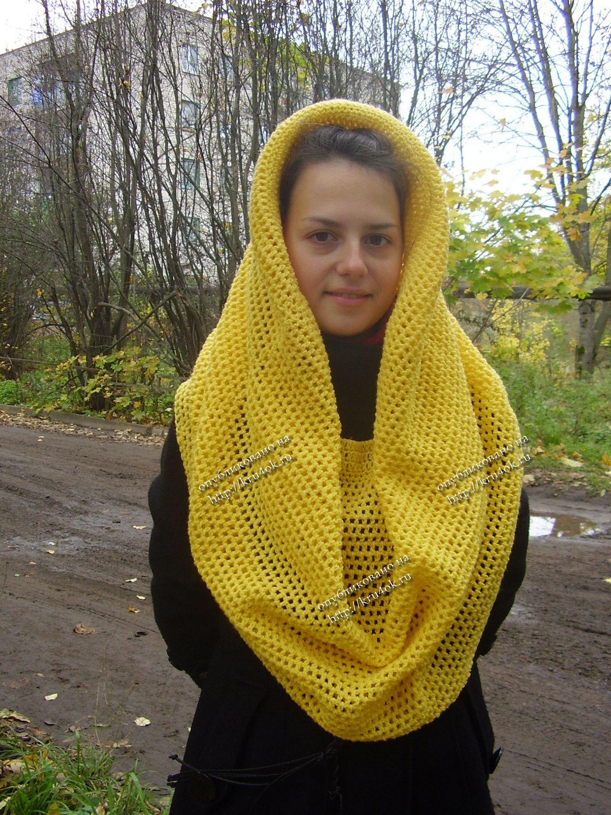 Вязание крючком шарфа снуд фото