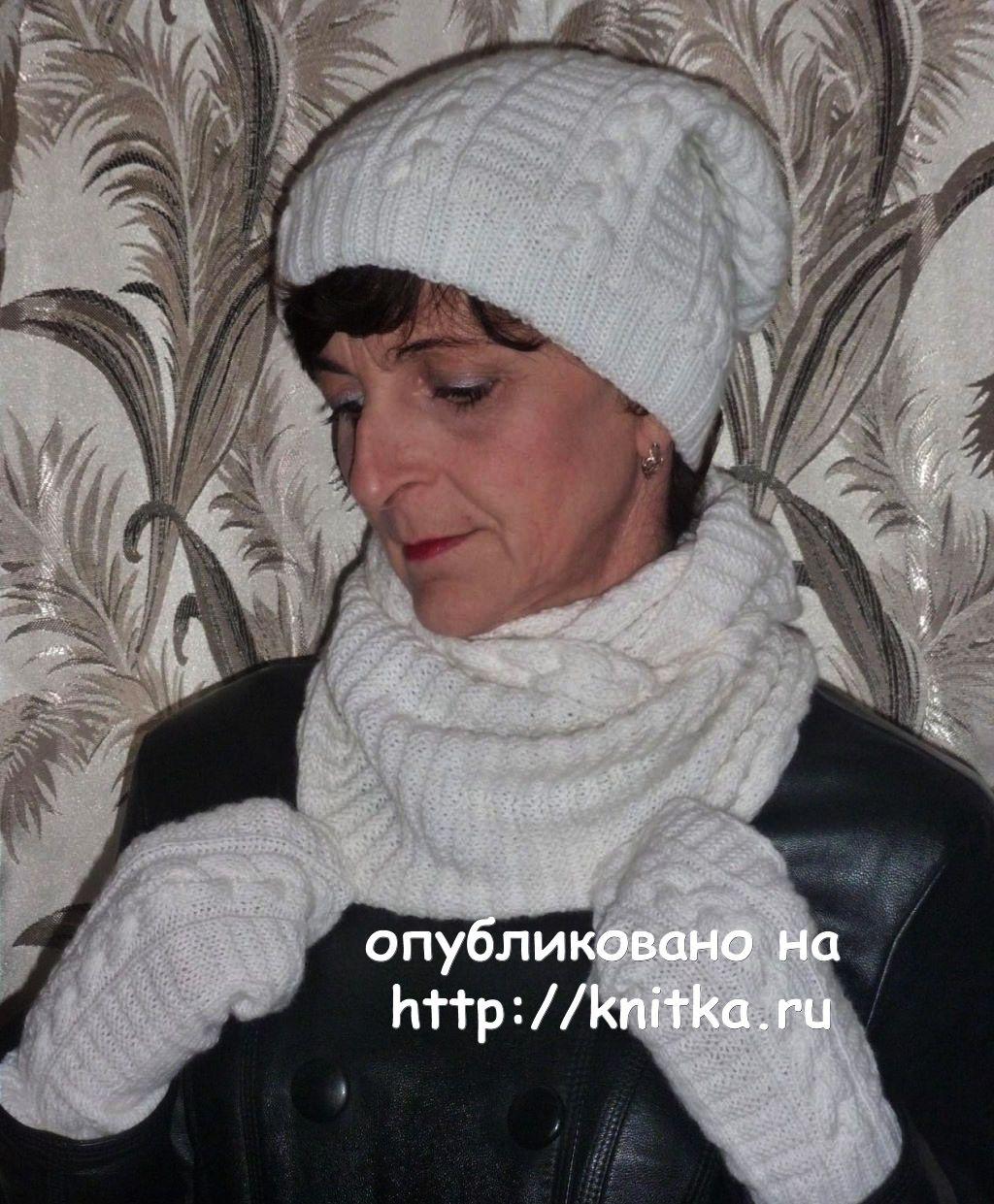 Вязаный спицами берет – работа Марины Ефименко