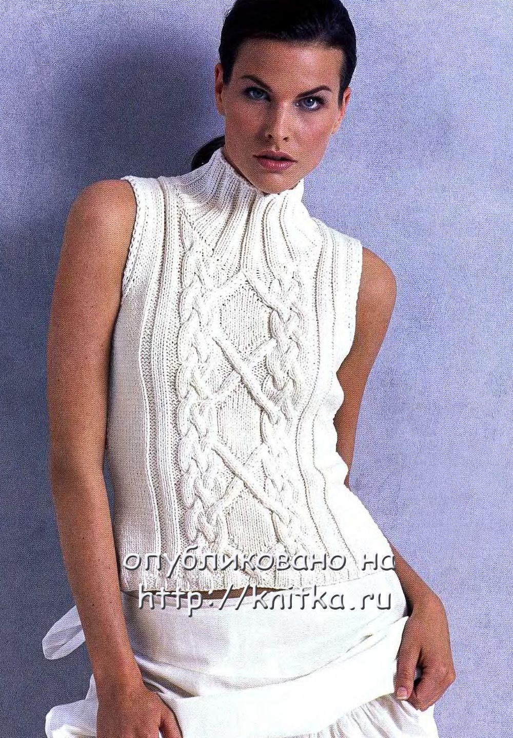 схема вязания женской безрукавки 46-48 размера