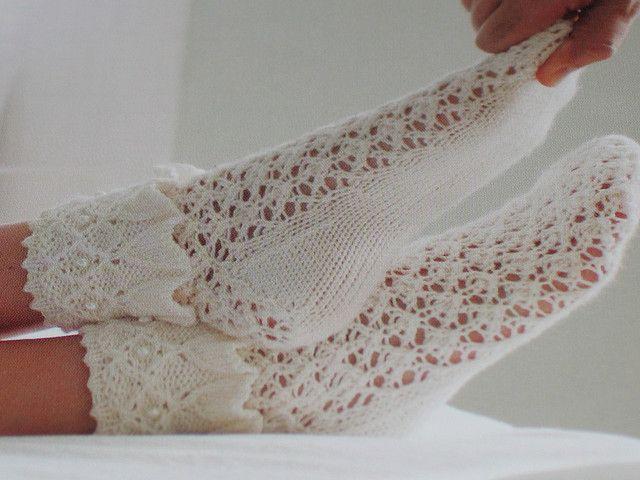 Вязание оригинальных ажурных носков спицами. Схема вязания ...