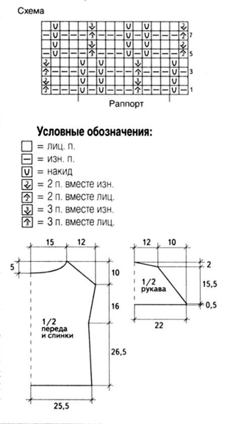 Схема вязания туники: