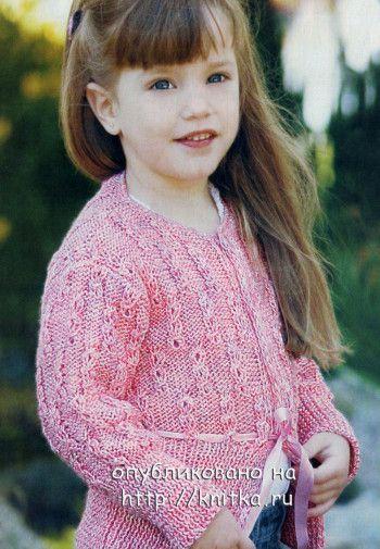 Розовый жакет для девочки спицами