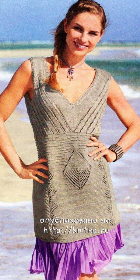 Бежевое летнее платье спицами