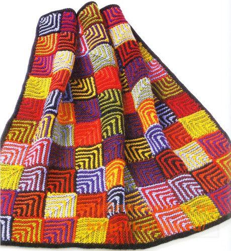 Геометрическое детское одеяло спицами