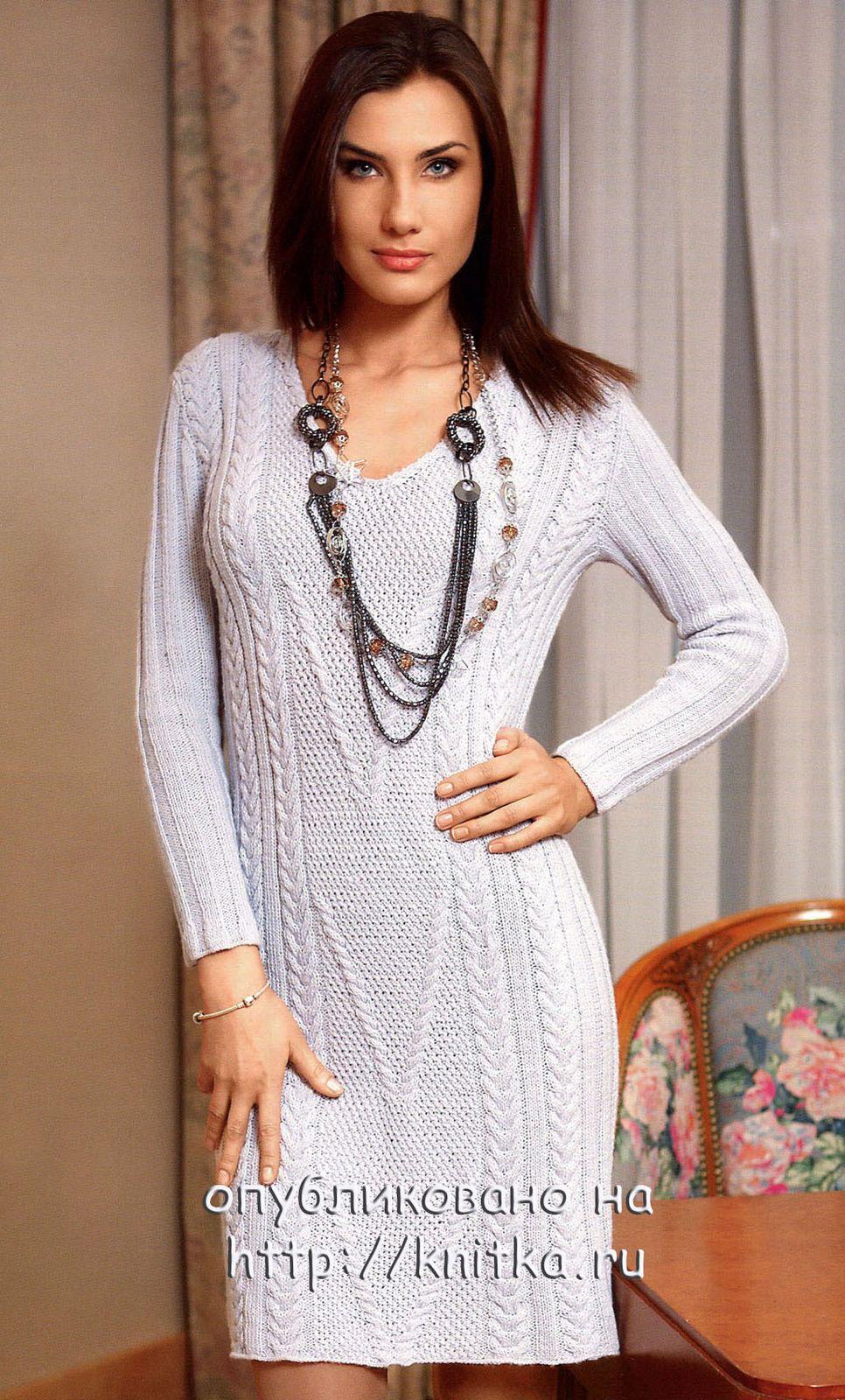 эффектное женское платье связанное спицами с описанием и схемой