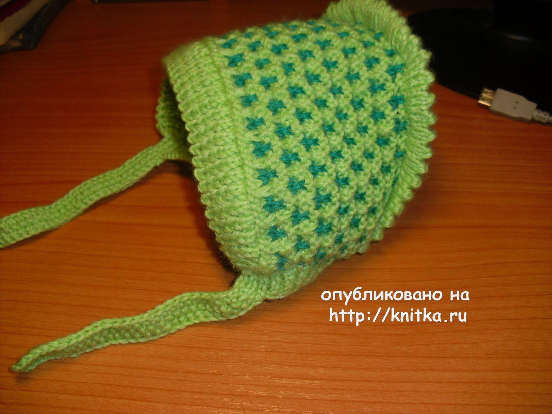 вязаный спицами чепчик работа ольги вязание для детей
