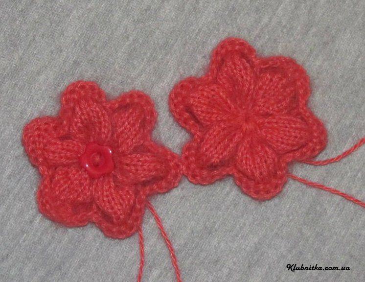 Как вязать цветы спицами