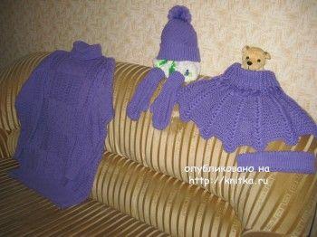 Свитер, шапка, варежки и манишка спицами