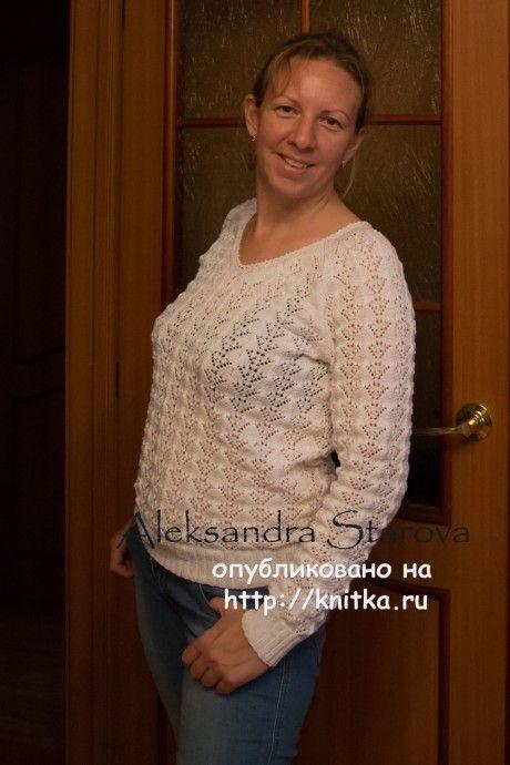 Ажурный пуловер спциами