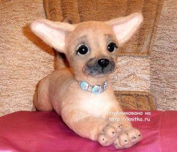 Собачка из шерсти - работа Ирины