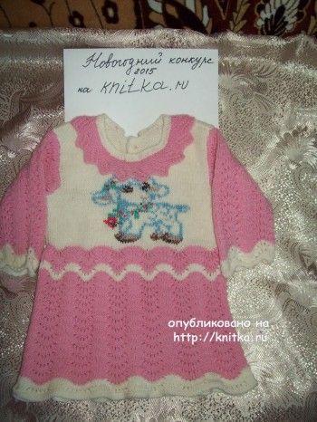 Вязаное спицами платье для девочки - работа Елены Беловой. Вязание спицами.