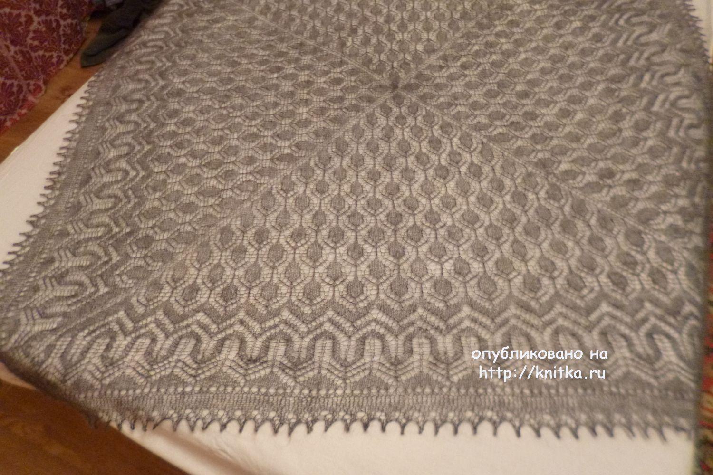 схема вязания на спицах паутинки шали