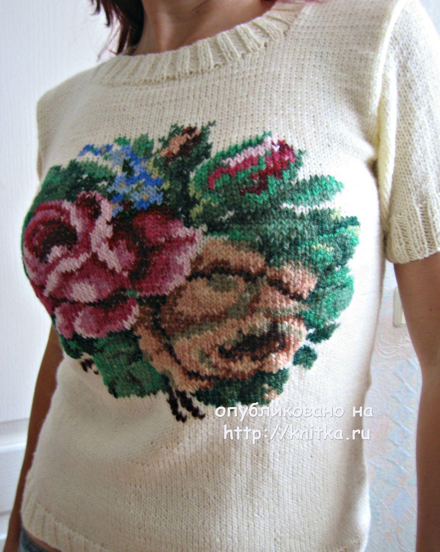 вязаный спицами свитер с вышивкой работа татьяны вязание для женщин
